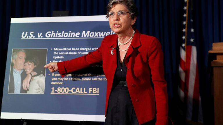 Audrey Strauss, Acting United States Attorney for the Southern District of New York speaks at a news conference announcing charges against Ghislaine Maxwell for her role in the sexual exploitation and abuse of minor girls by Jeffrey Epstein in New York City,
