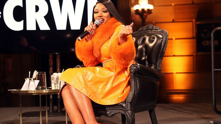 Megan Thee Stallion speaks onstage at #CRWN A Conversation With Elliott Wilson And Megan Thee Stallion at Gotham Hall on March 10, 2020 in New York City