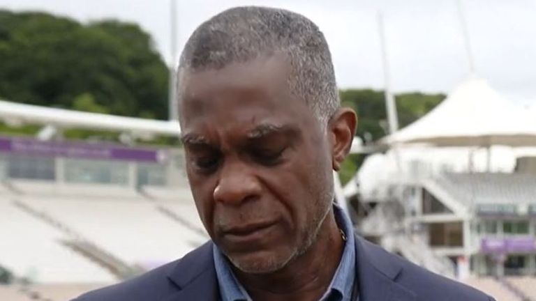 Former cricketer Michael Holding cried as he recalled the racism his parents had experienced.