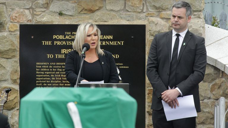 Belfast, Northern Ireland, UK. 30th June, 2020. Sinn Fein's ?Michelle O'Neill addresses mourners at Milltown Cemetery in west Belfast for the funeral of veteran republican Bobby Storey who died last week in England. Thousands lined the streets on Tuesday as funeral took place of former leading IRA figure as it made it way from his home in Andersonstown to the nearby Chaple of St.Agnes in west Belfast. . Mr Stor Credit: Irish Eye/Alamy Live News - Image ID: 2C52H5R (RM)