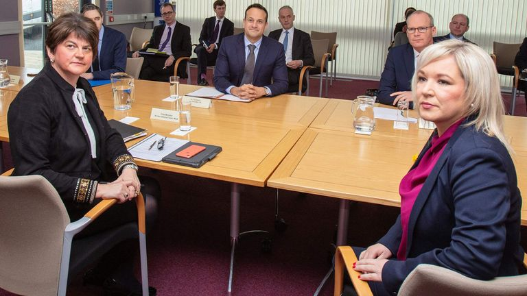 Michelle O'Neill (R), with Ireland PM Leo Varadkar (C) and Northern Ireland's First Minister Arlene Foster (L)