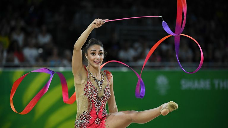 Mimi-Isabella Cesar is seen compete in the rhythmic gymnastics at the Commonwealth Games in 2018