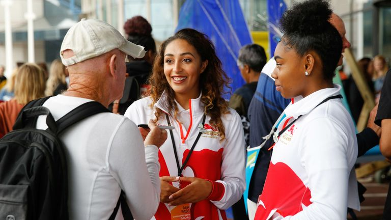 Cesar, centre, is seen at the three-year countdown to the 2022 Commonwealth Games in Birmingham
