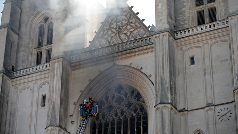 French firefighters at Nantes cathedral