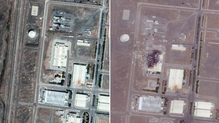 Satellite images of Natanz nuclear plant. Pics: Google (before) and Iran International (after)