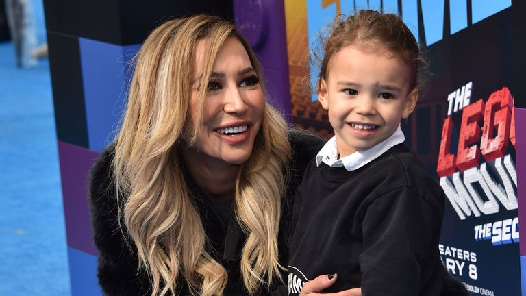 "US actress Naya Rivera and son Josey Hollis arrive for the premiere of ""The Lego Movie 2: The Second Part"" at the Regency Village theatre on February 2, 2019 in Westwood, California"