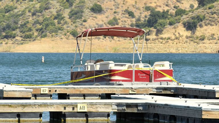 A boat is docked and roped off with police tape at Lake Piru, where actress Naya Rivera was reported missing Wednesday, on July 9, 2020 in Piru, California. According to the Ventura County Sheriff's Department this is believed to the boat that was rented by Rivera