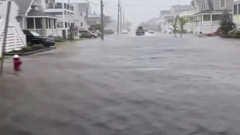 Streets of New Jersey are flooded as storm hits