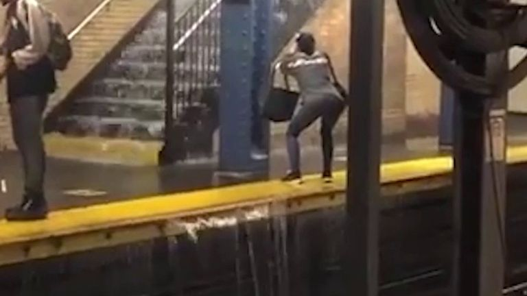 Subway floods in New York after Storm Fay drenches city