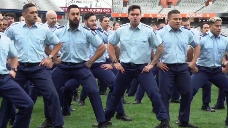 Auckland City District Police perform haka for colleague killed during a traffic stop