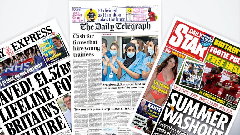 Newspaper front pages
