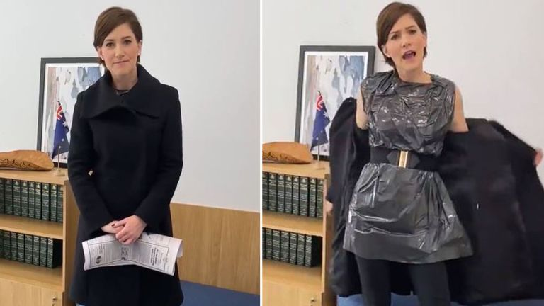 Australian MP Nicolle Flint wears a bin bag to call out 'sexist rubbish' after column describes her clothing choices. Pic: Twitter / @NicolleFlint
