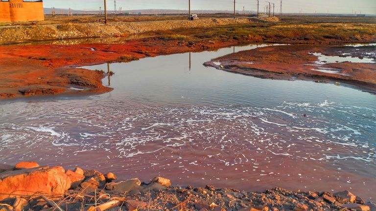 The Nornickel plant and the place where diesel meets red water (polluted by other chemicals). Pic: Vasily Ryabinin