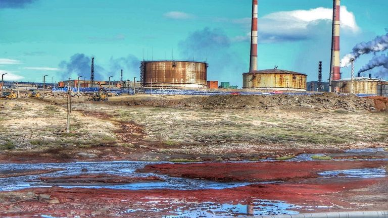 Nornickel Plant and container (on the left) which had the leak. Pic: Anastasya Leonova