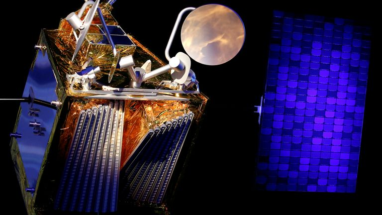 FILE PHOTO: A scale model of an Airbus OneWeb satellite and its solar panel are pictured as Airbus announces annual results in Blagnac, near Toulouse, France February 14, 2019.