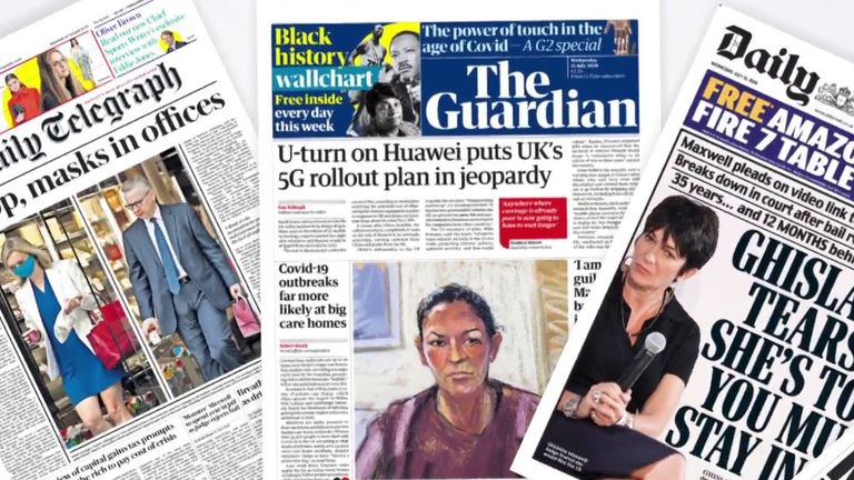 The front pages, Wednesday 15 July, 2020