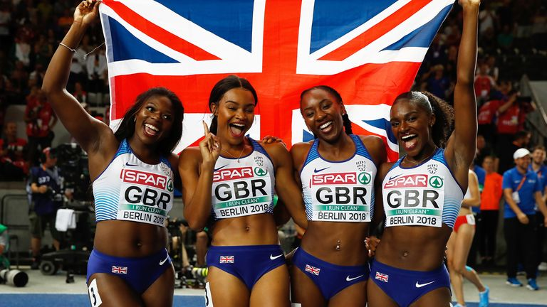 Great Britain's Asha Philip (left), Imani Lansiquot, Bianca Williams (second right), and Dina Asher-Smith (right) celebrate winning the gold medal in the women's 4x100m relay final during day six of the 2018 European Athletics Championships at the Olympic Stadium, Berlin