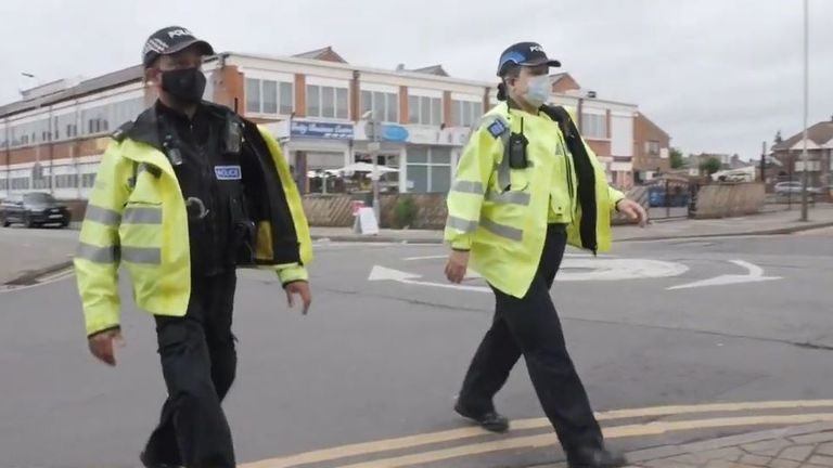 Police patrol the streets to remind people of the continuing lockdown rules in Leicester