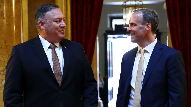 Dominic Raab and Mike Pompeo (L) had a working lunch inside the Foreign and Commonwealth Office in London