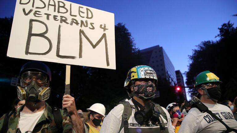 Veterans were among the protesters in Portland