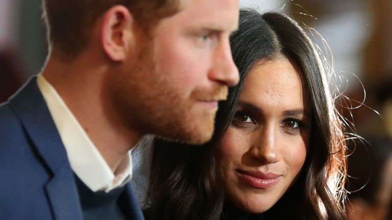 EDINBURGH, SCOTLAND - FEBRUARY 13: Prince Harry and Meghan Markle attend a reception for young people at the Palace of Holyroodhouse on February 13, 2018 in Edinburgh, Scotland. (Photo by Andrew Milligan - WPA Pool/Getty Images)