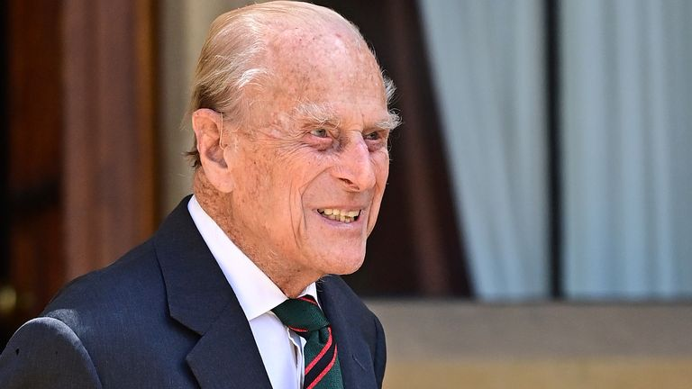 Prince Philip arriving for the ceremony