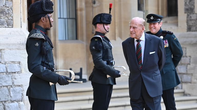 The Duke of Edinburgh appeared in high spirits as he made a rare public appearance