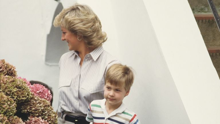 Prince William seen at a similar age with his mother Princess Diana