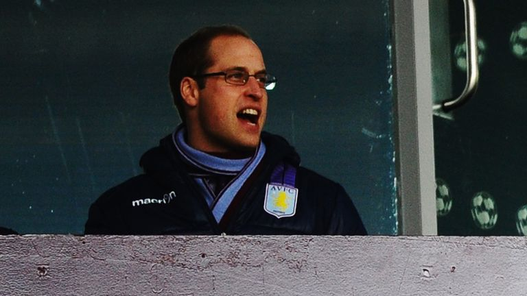 The prince at an Aston Villa game in 2013