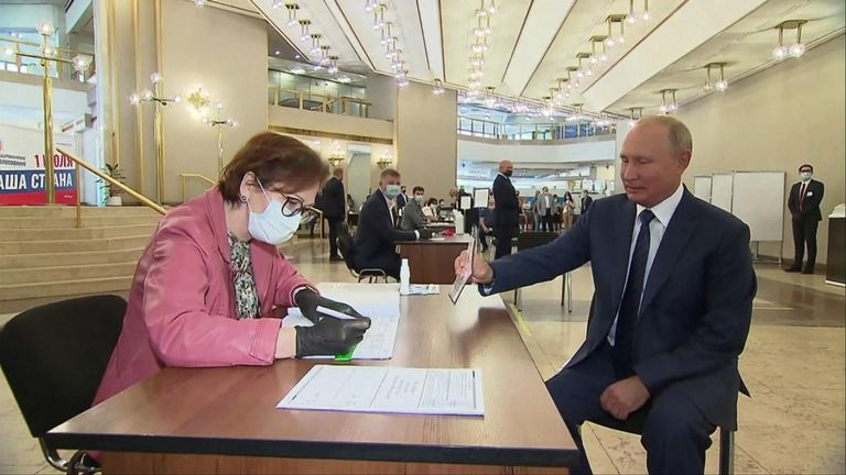 Vladimir Putin cast his vote on the final day of a vote on constitutional change that could allow him to stay in power until 2036.