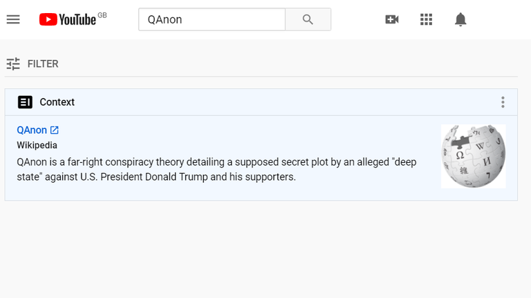 YouTube displays 'context' alongside searches for QAnon