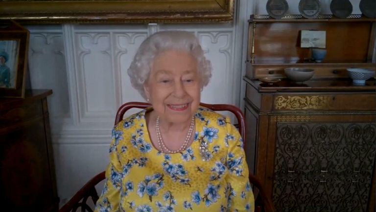 The Queen on a virtual call