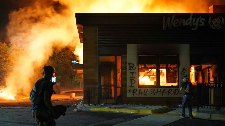 The Wendy's restaurant where Rayshard Brooks was shot as he slept in his car outside was burned to the ground by protesters