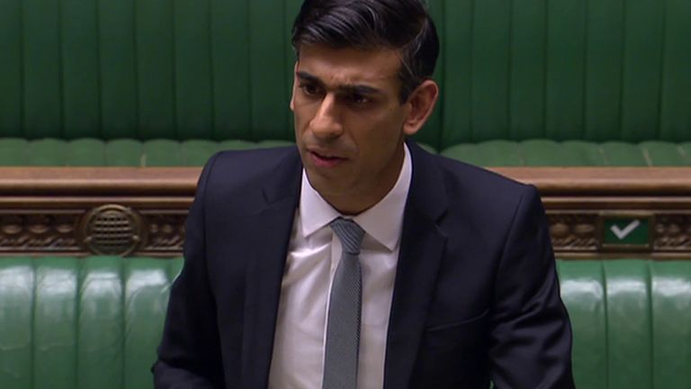 Chancellor Rishi Sunak presents his economic stimulus plan to the House of Commons.
