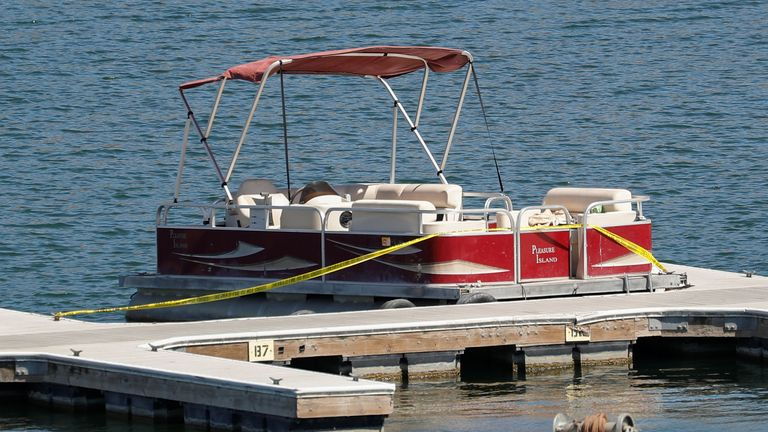 The boat that actor Naya Rivera was using when she went missing is seen on Lake Piru