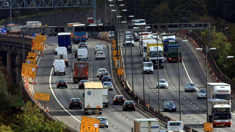 Roadworks on the M6 motorway