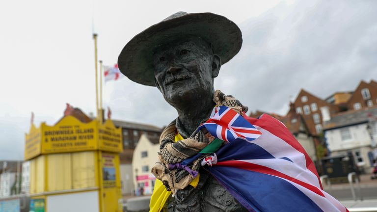 The statue in Poole Quay, Dorset is back on display