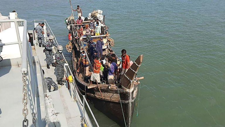 Rohingya refugees stranded at sea are seen on a boat near the coast of Cox's Bazar, Bangladesh, earlier this year. File pic