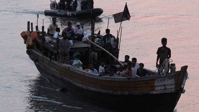 Rohingya refugees make their way to Malaysia from Myanmar after being intercepted at sea. File pic