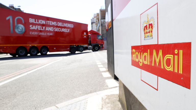 The logo of Royal Mail is seen outside the Mount Pleasant Sorting Office as a delivery vehicle arrives, in London, Britain, June 25, 2020