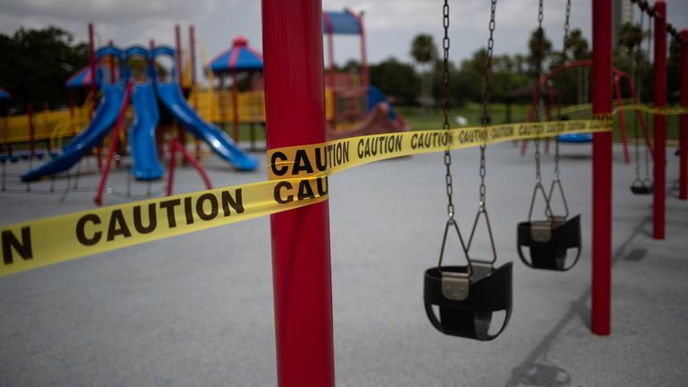 A cordoned off playground in Seabrook, Texas. File pic