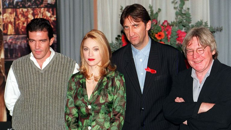 "Madonna, the star of Alan Parkr's ""Evita"", with co-stars Antonio Banderas (left), British actor/singer Jimmy Nail (2nd right) and director/producer Alan Parker (right), in London today (Weds), prior to tomorrow night's Gala International Premiere of the film, composed by Sir Andrew Lloyd Webber, at the Empire, Leicester Square. Photo by Sean Dempsey. * 4/8/99: Parker becomes the first chairman of the new film council. He was chosen for the unpaid part-time post from a field of several candidates"
