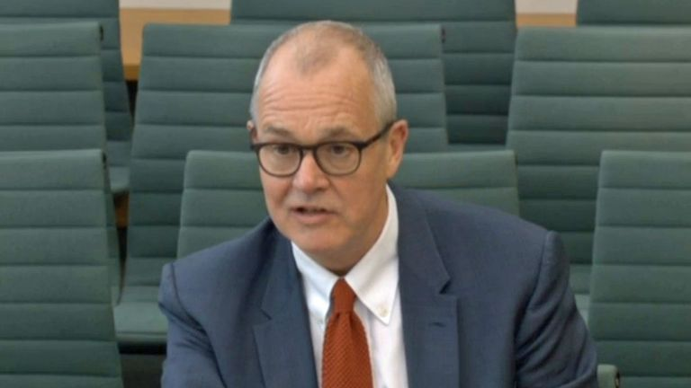 Sir Patrick Vallance, the government's chief scientific adviser, giving evidence to the committee