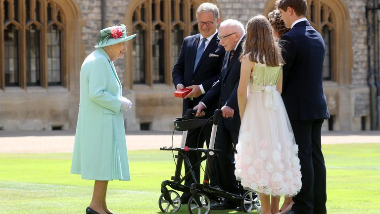 Sir Tom Moore was knighted by the Queen as his family looked on