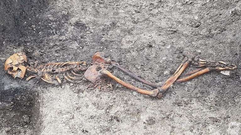 The skeleton was found with its hands tied together