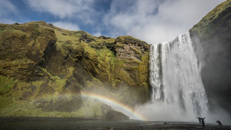 Rainbow is seen near Skogafoss waterfall on September 2, 2018 near Skogar, in South Iceland