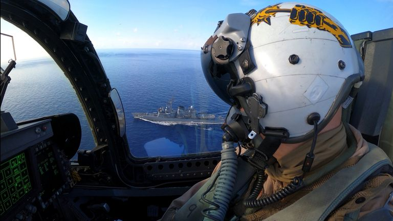 A US Navy jet on an exercise with Japanese ships in the South China Sea this month