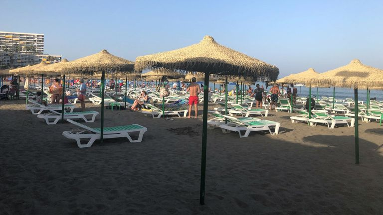 Beaches such as Torremolinos are empty this summer, an usual sight for the seaside Spanish town