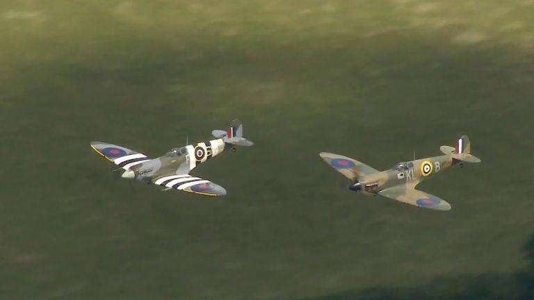 Two RAF Spitfires salute Dame Vera Lynn