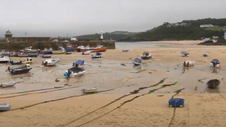 High tide at St Ives, where tourists are returning after lockdown restrictions were eased
